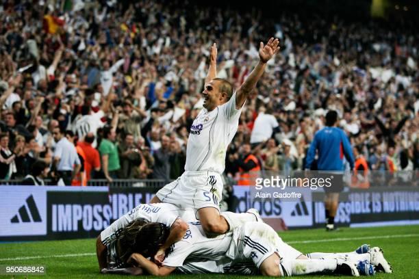 Fabio Cannavaro of Real Madrid celebrates during the Liga match between Real Madrid and Majorca at Santiago Bernabeu Stadium in Madrid Spain on June...