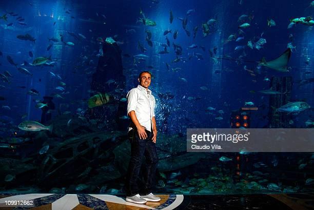 Fabio Cannavaro poses at an aquarium on August 15 2010 in Dubai United Arab Emirates