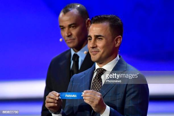 Fabio Cannavaro shows the country Panama to be in Group G during the FIFA World Cup Russia 2018 Final Draw in the State Kremlin Palace on December 01...