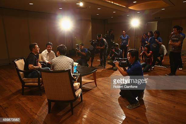 Fabio Cannavaro speaks to the media during a press conference in the lead up the the Global Legends Series at the Swissotel on December 3 2014 in...