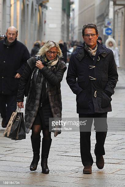 Fabio Capello and his wife Laura Ghisi sighted on January 9 2013 in Milan Italy
