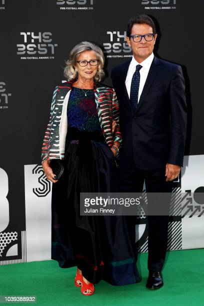Fabio Capello and Laura Ghisi arrive on the Green Carpet ahead of The Best FIFA Football Awards at Royal Festival Hall on September 24 2018 in London...