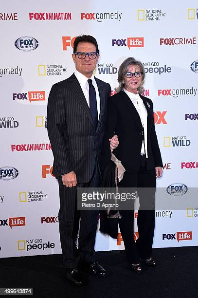 Fabio Capello and Laura Ghisi attends the Fox Channels Party at Palazzo Del Ghiaccio on December 2 2015 in Milan Italy