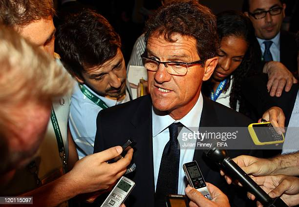 Fabio Capello, coach of England talks to the media after the preliminary draw of the 2014 FIFA World Cup in Brazil at the Marina da Gloria on July...