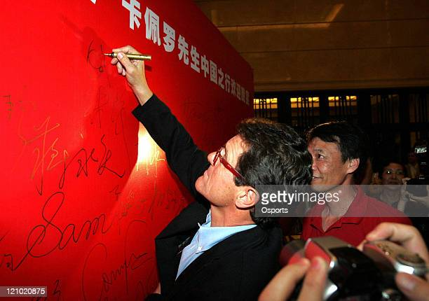 Fabio Capello head coach of Real Madrid at a welcome party in Shanghai China on June 25 2007