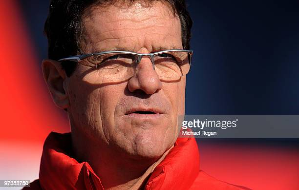 Fabio Capello looks on during an England training session at London Colney on March 2, 2010 in St Albans, England.