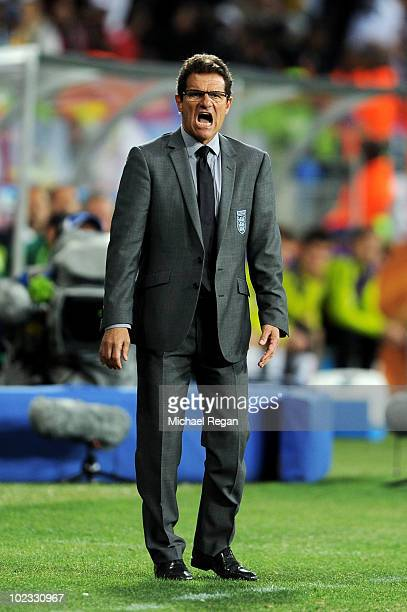 Fabio Capello manager of England directs his players from the touchline during the 2010 FIFA World Cup South Africa Group C match between Slovenia...