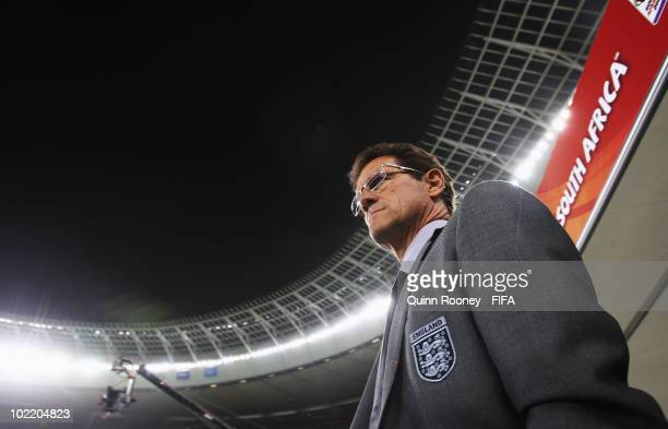 Fabio Capello manager of England enters the stadium prior to the 2010 FIFA World Cup South Africa Group C match between England and Algeria at Green...