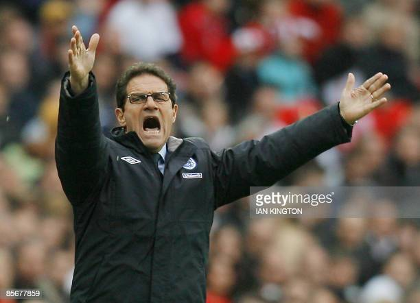 Fabio Capello Manager of England gestures during their International friendly match against Slovakia at Wembley Stadium in London on March 28 2009...
