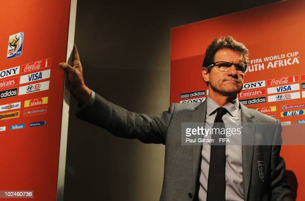 Fabio Capello manager of England gives a press conference after the 2010 FIFA World Cup South Africa Round of Sixteen match between Germany and...