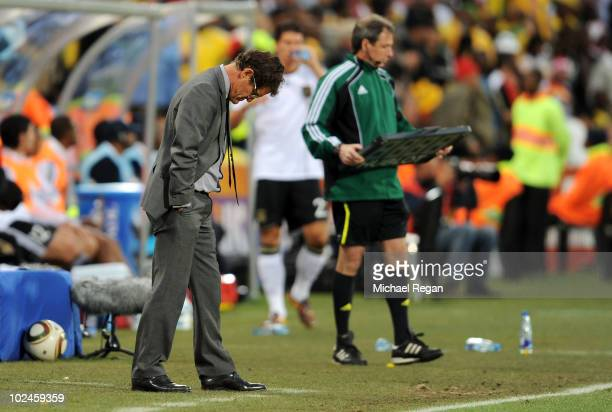 Fabio Capello manager of England looks dejected during the 2010 FIFA World Cup South Africa Round of Sixteen match between Germany and England at...
