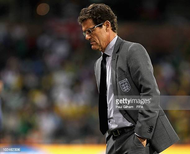 Fabio Capello manager of England looks on during the 2010 FIFA World Cup South Africa Round of Sixteen match between Germany and England at Free...