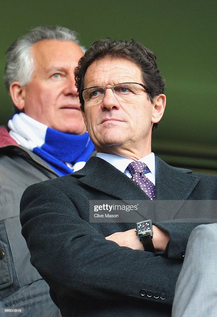 Fabio Capello manager of England looks on prior to the Barclays Premier League match between Chelsea and Wigan Athletic at Stamford Bridge on May 9, 2010 in London, England.