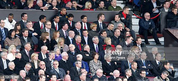 Fabio Capello manager of England watches the action from the directors box during the Barclays Premier League match between Manchester United and...