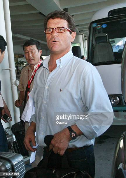 Fabio Capello, Real Madrid's head coach, arrives at the airport in Xiamen, China on June 27, 2007. Capello and his family are on a week long visit to...