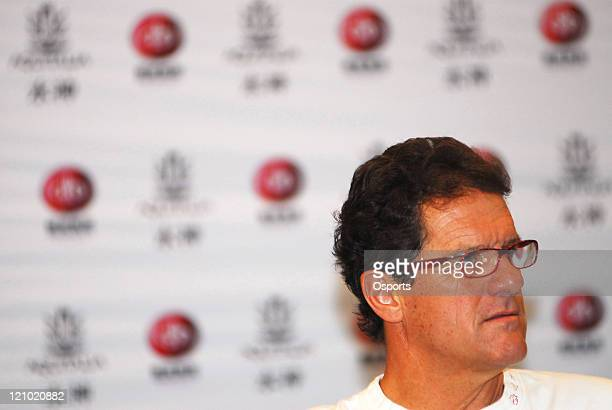 Fabio Capello Real Madrid's head coach attends a press conference in Xiamen China on June 27 2007 Capello and his family are on a week long visit to...