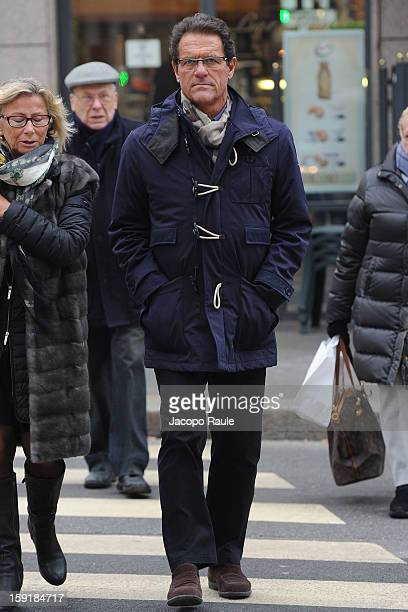 Fabio Capello sighted with his wife Laura Ghisi on January 9 2013 in Milan Italy