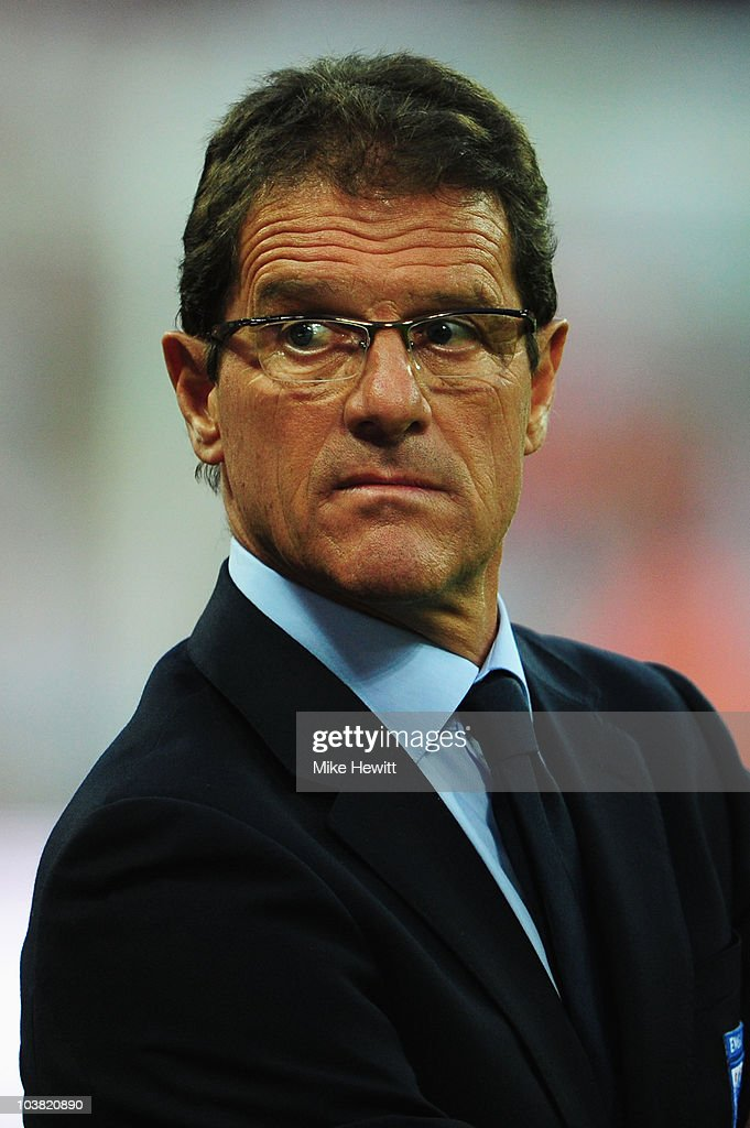 Fabio Capello the England manager looks on before the start of the UEFA EURO 2012 Group G Qualifying match between England and Bulgaria at Wembley Stadium on September 3, 2010 in London, England.
