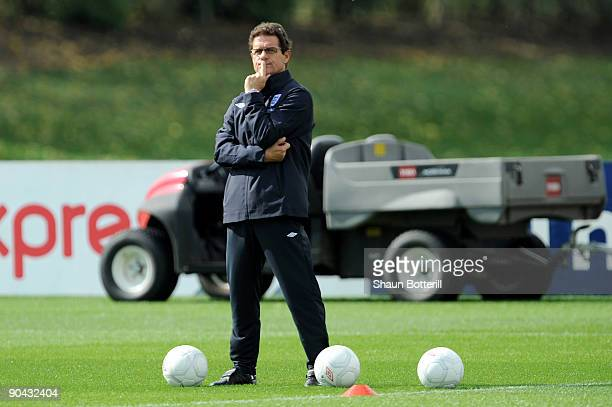 Fabio Capello the England manager watches his players during training at London Colney on September 8 2009 in St Albans England