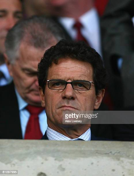 Fabio Capello the manager of England watches during the Nationwide Under 21 International Friendly between Wales U21 and England U21 at the...