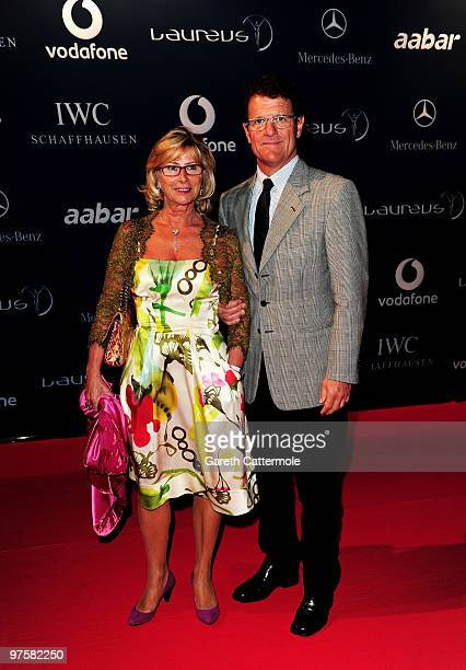 Fabio Cappello and his wife Laura attend the Laureus Welcome Party part of the Laureus Sports Awards 2010 at the Fairmount Hotel on March 9 2010 in...