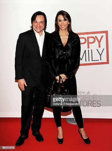 Fabio Caressa and Benedetta Parodi attend 'Happy Family' Milan Premiere held at Cinema Apollo on March 25 2010 in Milan Italy