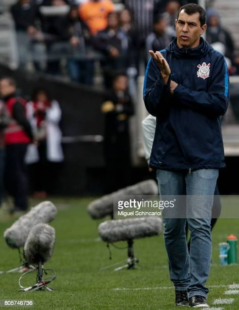 Fabio Carille coach of Corinthians gestures during the match between Corinthians and Botafogo for the Brasileirao Series A 2017 at Arena Corinthians...