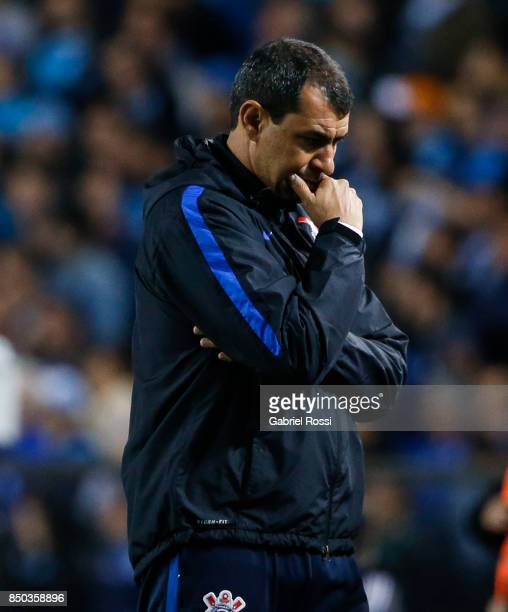 Fabio Carille coach of Corinthians looks on during a second leg match between Racing Club and Corinthians as part of round of 16 of Copa CONMEBOL...