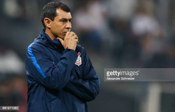 Fabio Carille head coach of Corinthians in action during the match between Corinthians and Santos for the Brasileirao Series A 2017 at Arena...