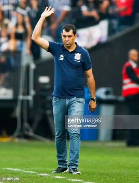 Fabio Carille head coach of Corinthians in action during the match between Corinthians and Flamengo for the Brasileirao Series A 2017 at Arena...