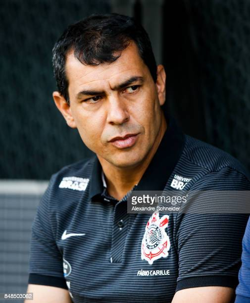 Fabio Carille head coach of Corinthians in action during the match between Corinthians and Vasco da Gama for the Brasileirao Series A 2017 at Arena...