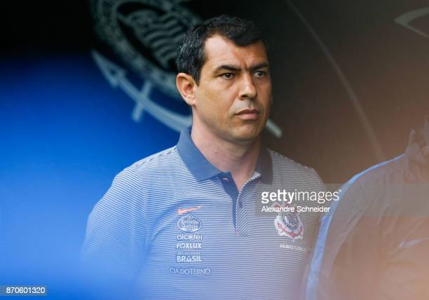 Fabio Carille head coach of Corinthians in action during the match between Corinthians and Palmeiras for the Brasileirao Series A 2017 at Arena...
