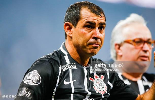 Fabio Carille head coach of Corinthians reacts after winning the Brasileirao Series A 2017 against Fluminense at Arena Corinthians Stadium on...