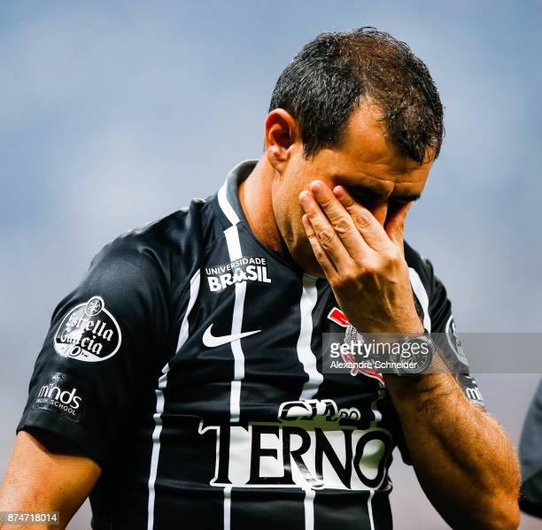 Fabio Carille head coach of Corinthians reacts after winning the Brasileirao Series A 2017 during the match against Fluminense at Arena Corinthians...