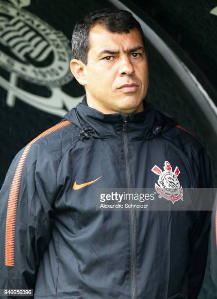 Fabio Carille head coach of Corinthinas looks on during the match against Fluminense for the Brasileirao Series A 2018 at Arena Corinthians Stadium...