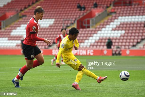 Fabio Carvalho of Fulham scores their side's first goal during the Premier League match between Southampton and Fulham at St Mary's Stadium on May...