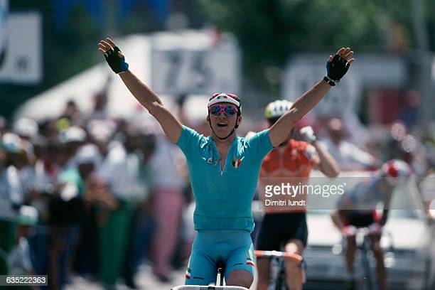 Fabio Casartelli from Italy winning the gold medal at the men's road race of the 1992 Summer Olympics Casartelli later died in a crash during stage...