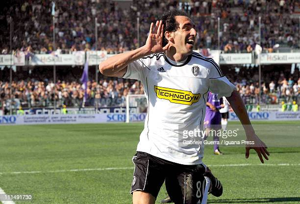 Fabio Caserta of Cesena celebrates after scoring the 22 equalising goal during the Serie A match between AC Cesena and ACF Fiorentina at Dino Manuzzi...