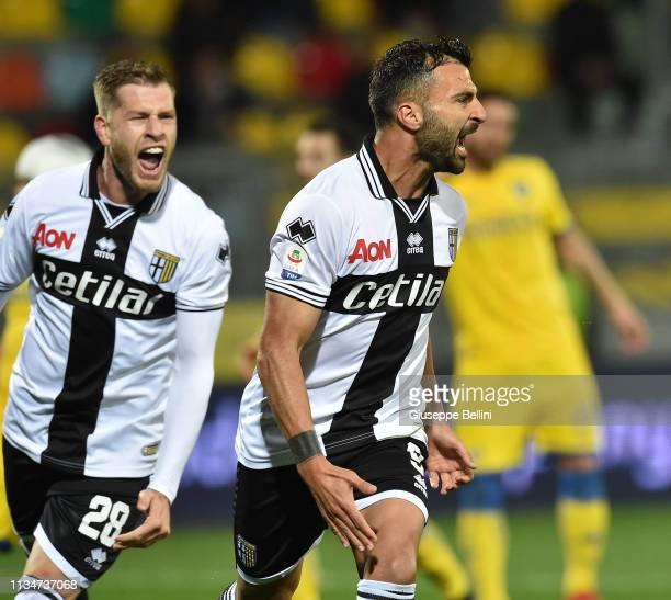 Fabio Ceravolo of Parma Calcio celebrates after scoring goal 2-2 during the Serie A match between Frosinone Calcio and Parma Calcio at Stadio Benito...