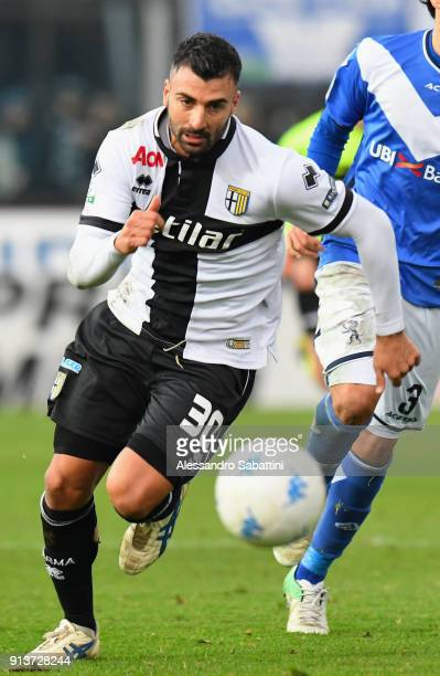 Fabio Ceravolo of Parma Calcio in action during the Serie B match between Brescia Calcio and Parma Calcio at Stadio Mario Rigamonti on February 3...