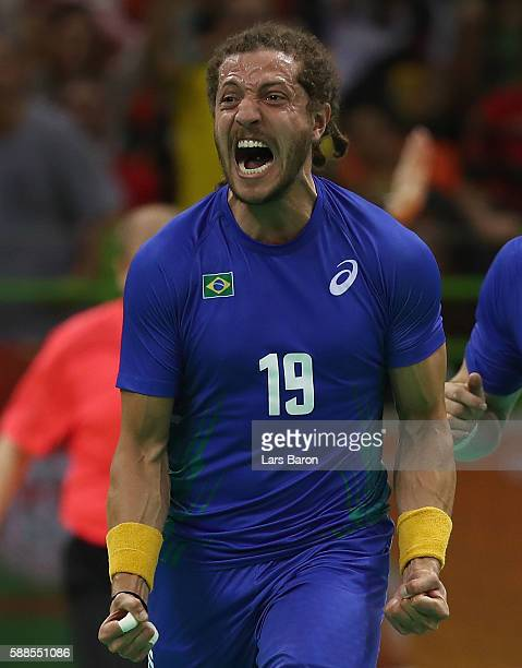 Fabio Chiuffa of Brazil celebrates during the Mens Preliminary Group B match between Brazil and Germany at Future Arena on August 11, 2016 in Rio de...