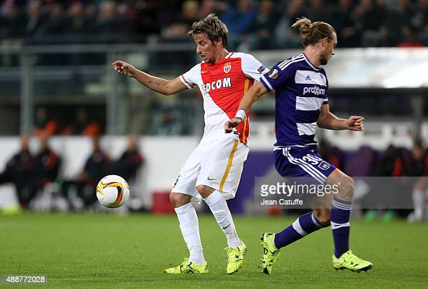 Fabio Coentrao of Monaco and Guillaume Gillet of Anderlecht in action during the UEFA Europa League match between RSC Anderlecht and AS Monaco FC at...