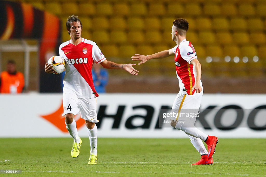 Fabio Coentrao of Monaco congratulates Stephan El Shaarawy of Monaco on scoring their first goal during the UEFA Europa League group J match between AS Monaco FC and Tottenham Hotspur FC at Stade Louis II on October 1, 2015 in Monaco, Monaco.