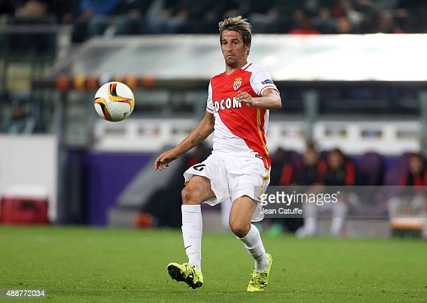 Fabio Coentrao of Monaco in action during the UEFA Europa League match between RSC Anderlecht and AS Monaco FC at Stade Constant Vanden Stock on...