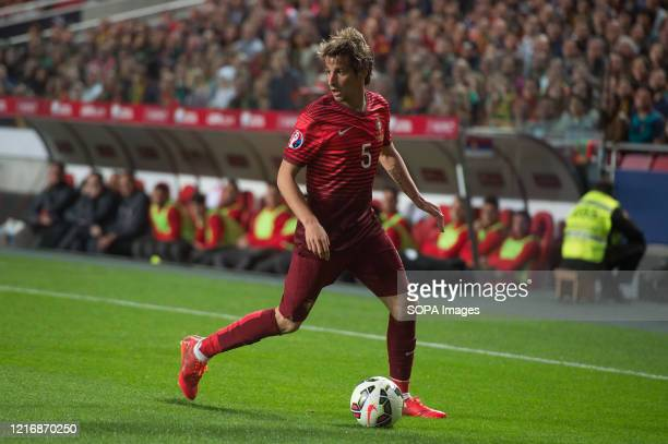 Fabio Coentrao of Portugal seen in action during the UEFA Euro 2016 qualifying match between Portugal and Serbia at Estadio da Luz in Lisbon. .