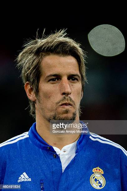 Fabio Coentrao of Real Madrid CF looks on standed at the squad«s line up prior to start the UEFA Champions League Group B match between Real Madrid...