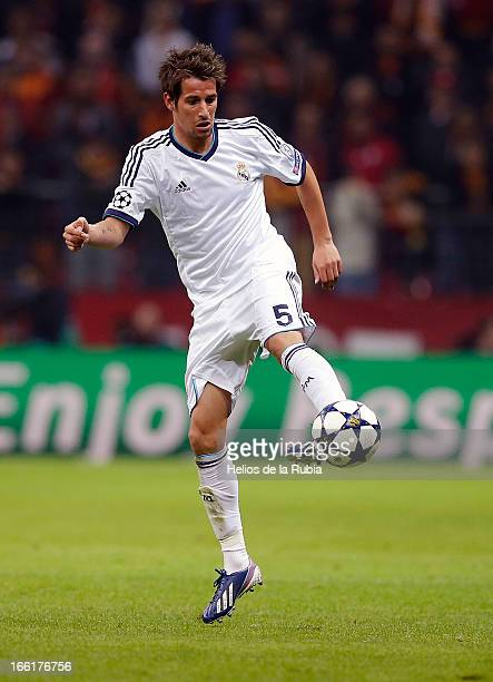 Fabio Coentrao of Real Madrid controls the ball during the UEFA Champions League Quarter Final second leg match between Galatasaray and Real Madrid...