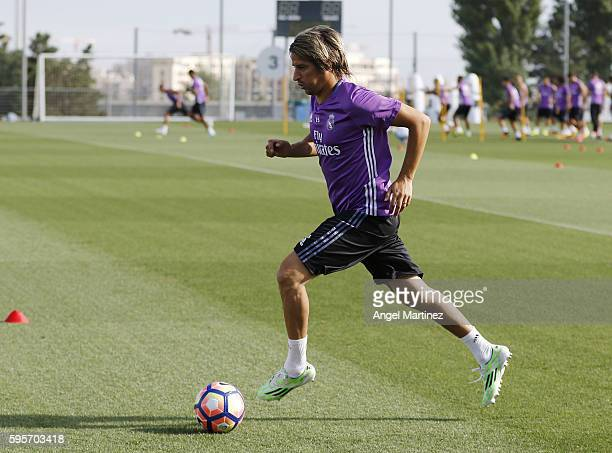 Fabio Coentrao of Real Madrid in action during a training session at Valdebebas training ground on August 26 2016 in Madrid Spain