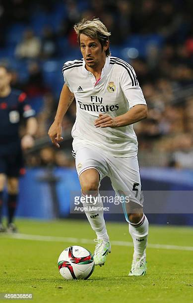 Fabio Coentrao of Real Madrid in action during the Copa del Rey round of 32 second leg match between Real Madrid and UD Cornella at Estadio Santiago...