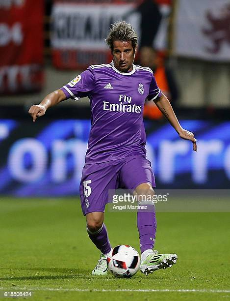 Fabio Coentrao of Real Madrid in action during the Copa del Rey round of 32 first leg match between Cultural y Deportiva Leonesa and Real Madrid CF...